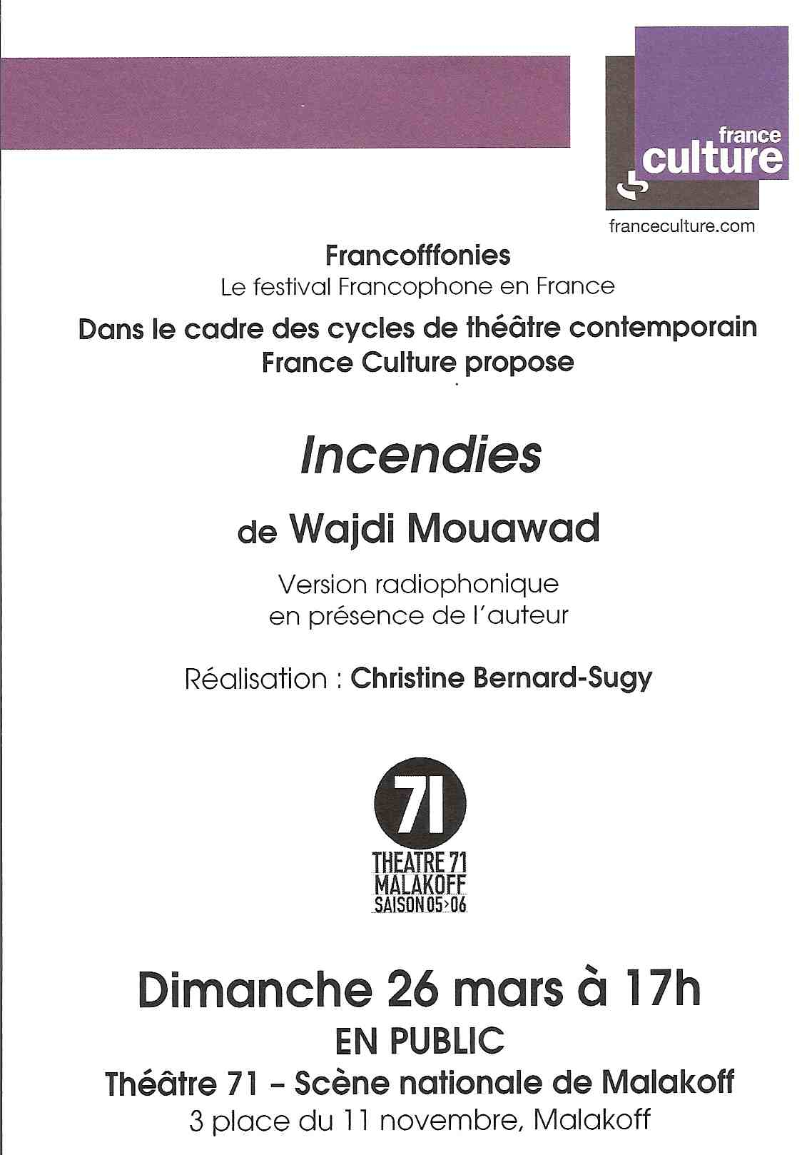 Incendies sur France Culture